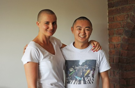 Shave buddy. Richard shaved his head also for support.